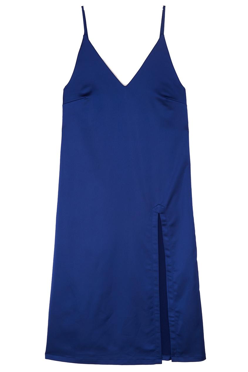 Платье-комбинация из синего атласа