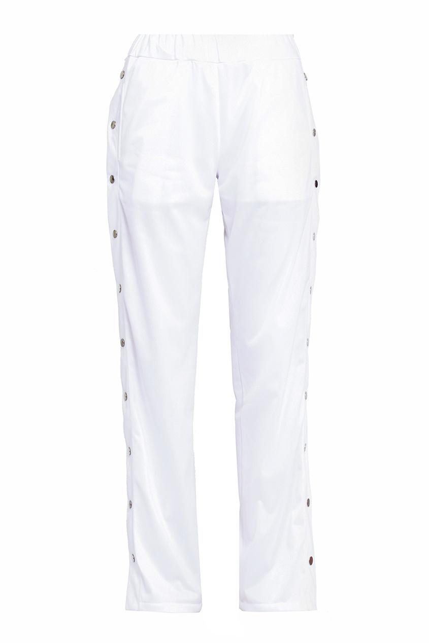 Белые брюки с кнопками