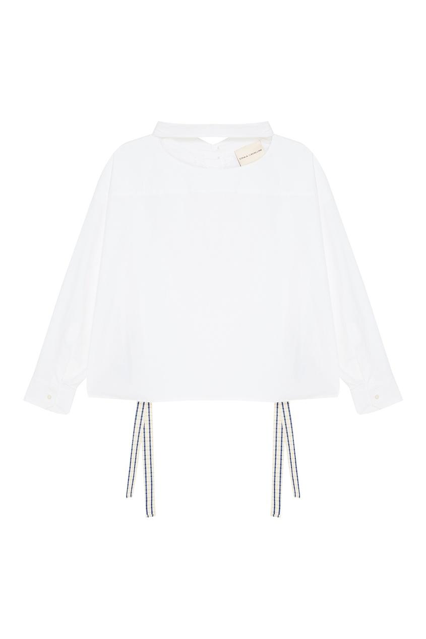 Erika Cavallini Белая рубашка с завязками осенние новый пиджак обрезанное корейской версии новый осенний износ тонкая белая рубашка леди рукава белая рубашка