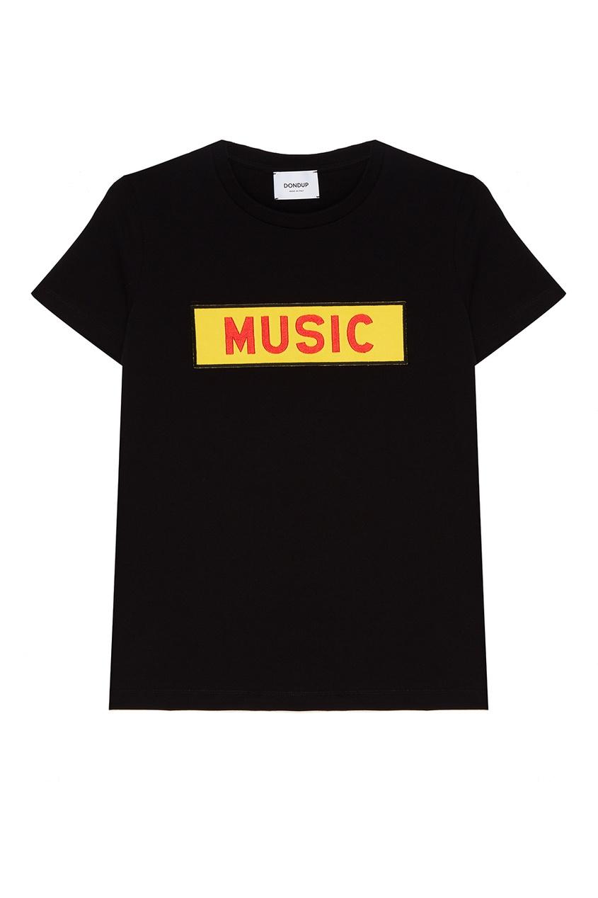 Dondup Черная футболка с контрастной аппликацией полуприлегающая футболка с аппликацией