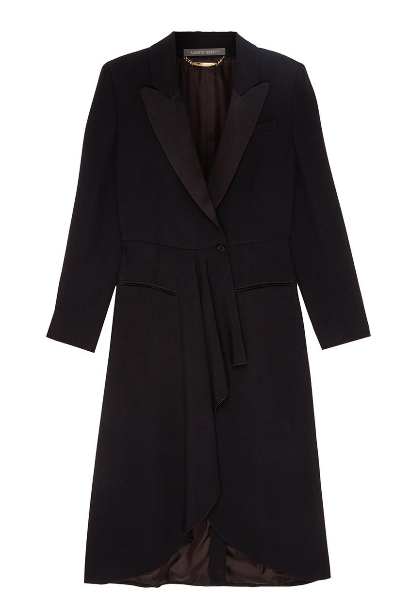 Alberta Ferretti Длинное черное пальто