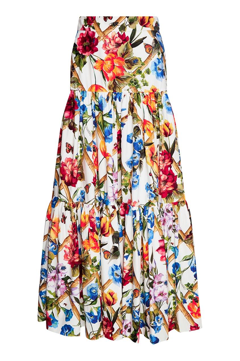 Dolce&Gabbana Хлопковая юбка-макси с цветочным принтом kenzo юбка с принтом