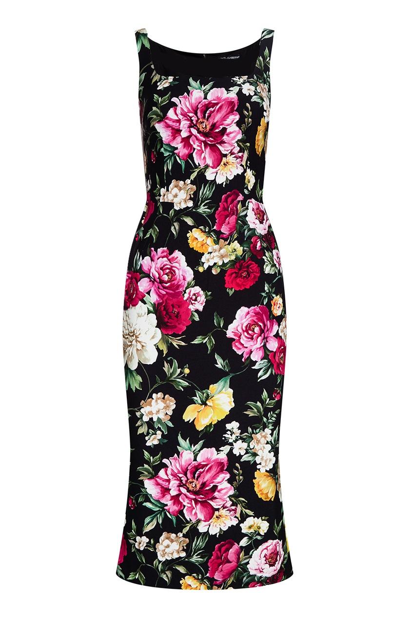 Dolce&Gabbana Черное платье с цветочным принтом платье с цветочным принтом