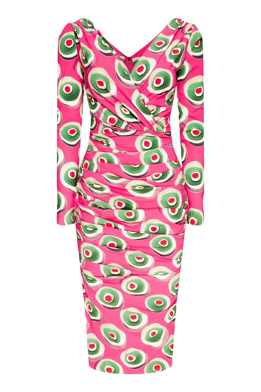 Шелковое платье с ярким принтом