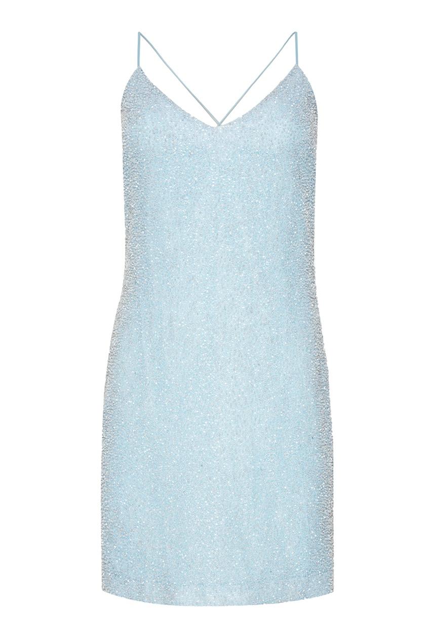 Alexander Terekhov Голубое платье-мини с бисером объемная вышивка с бисером