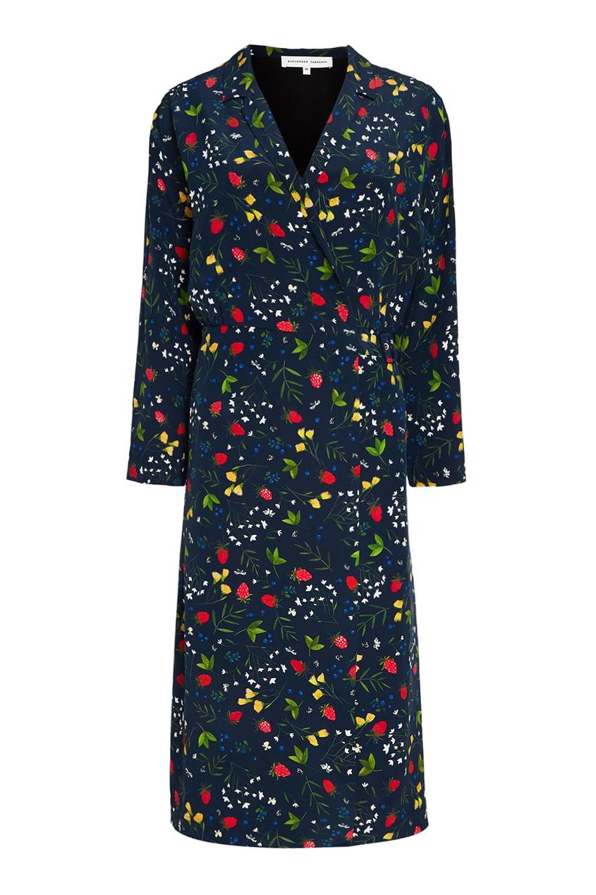 Alexander Terekhov Шелковое платье-халат с ярким принтом alexander terekhov черное платье с пайетками