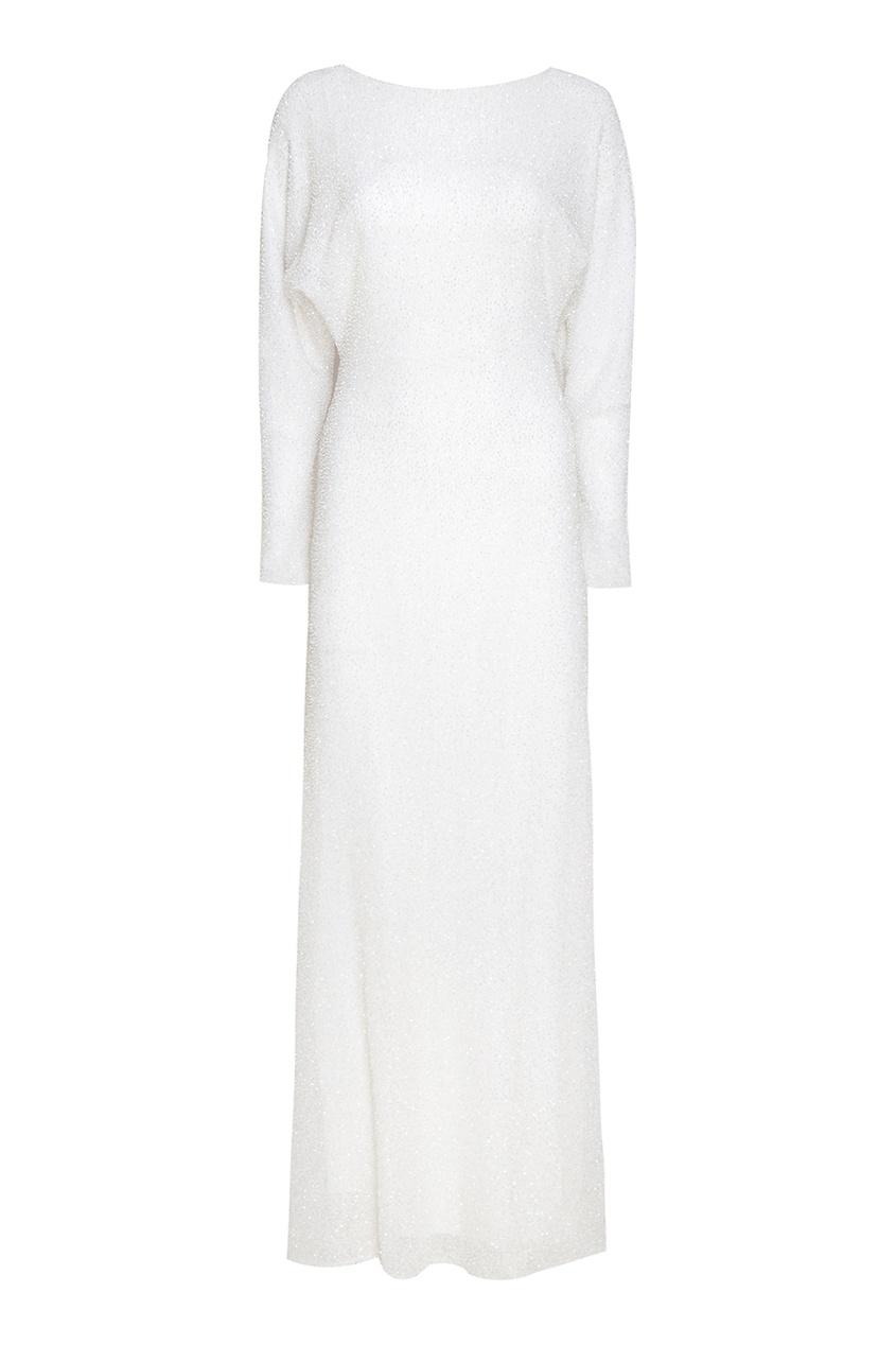 Alexander Terekhov Белое платье-макси с бисером alexander terekhov длинное платье с принтом