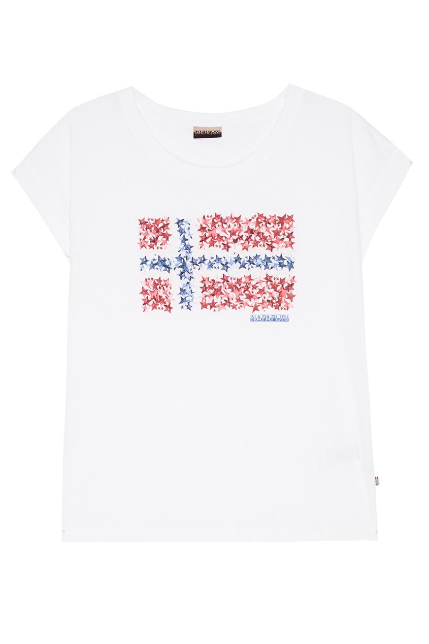 Napapijri Белая футболка с принтом napapijri худи с эмблемой bochil