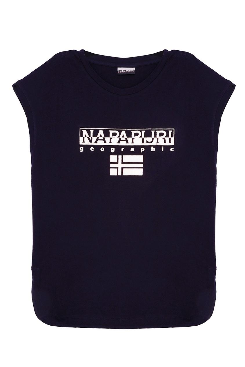 Napapijri Черная футболка с блестящим логотипом napapijri синяя хлопковая футболка с логотипом