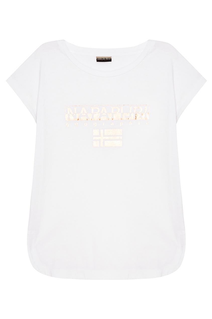 Napapijri Белая футболка с блестящим логотипом napapijri худи с логотипом berthow