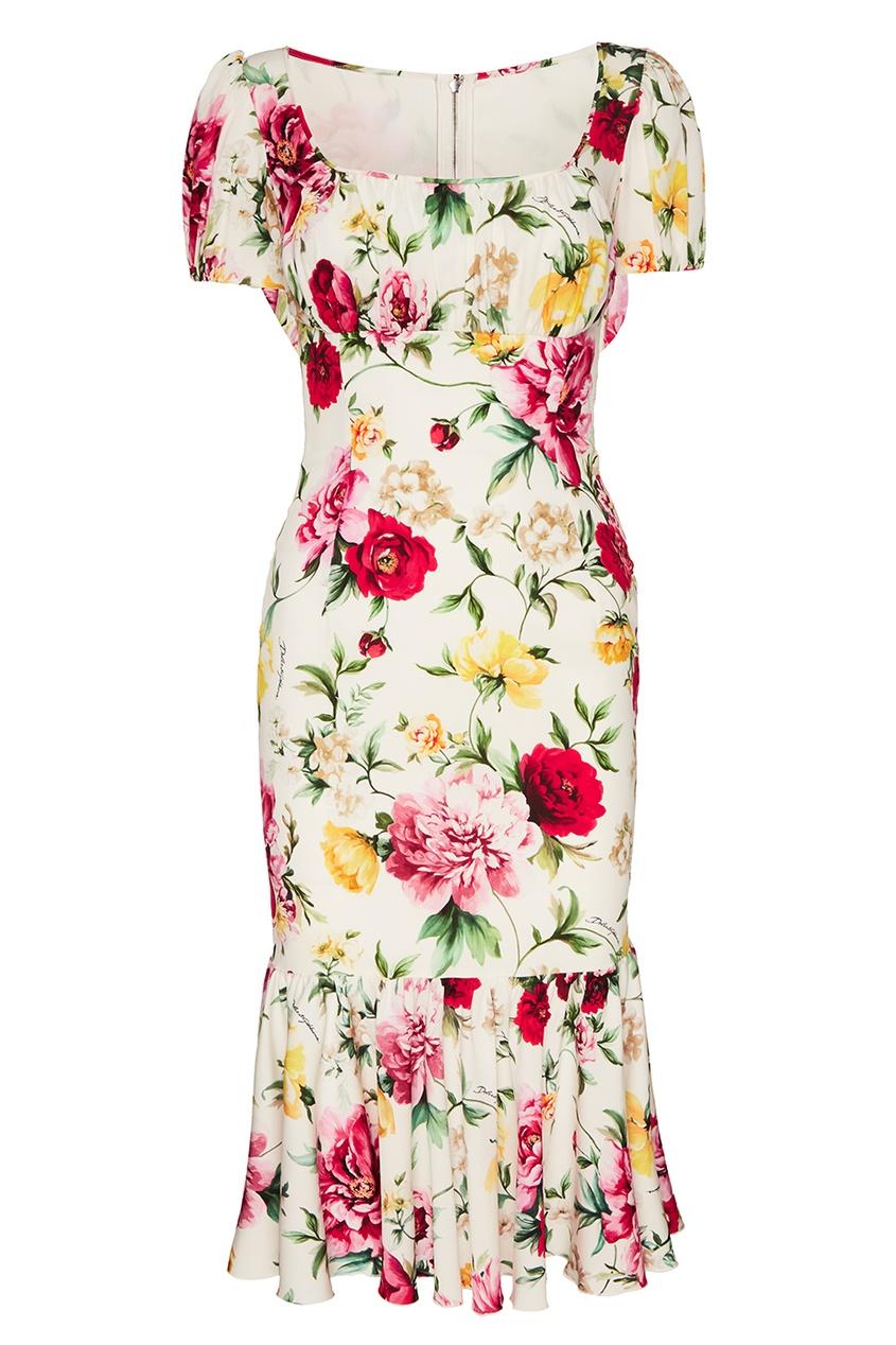 Dolce&Gabbana Платье-миди из шелка с цветами