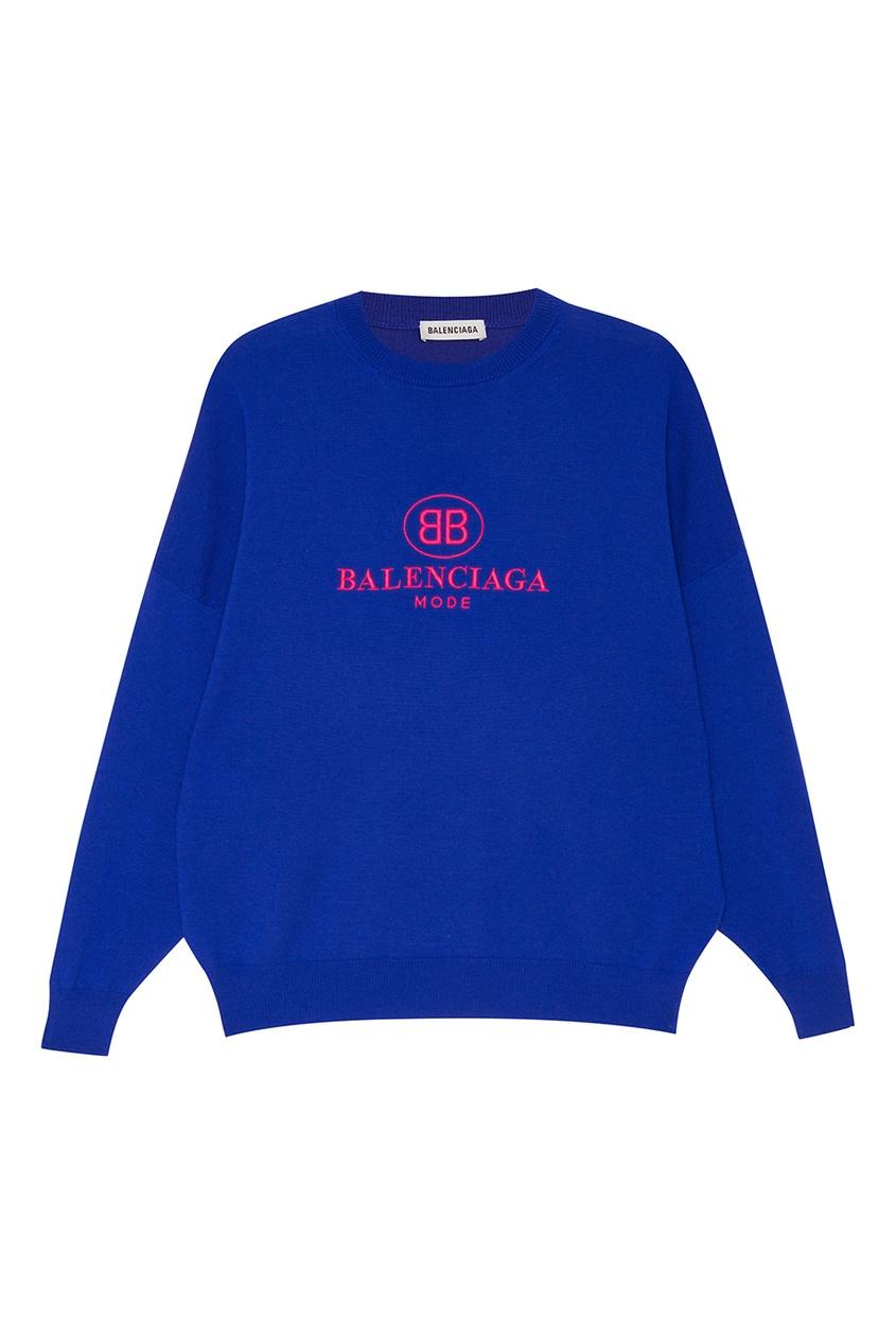 Balenciaga Шерстяной джемпер с вышитым логотипом balenciaga шерстяной пуловер