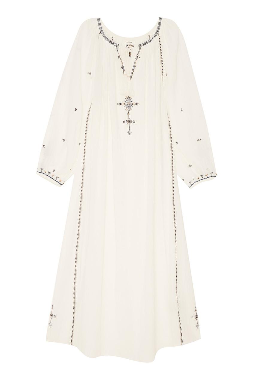 Белое хлопковое платье-макси