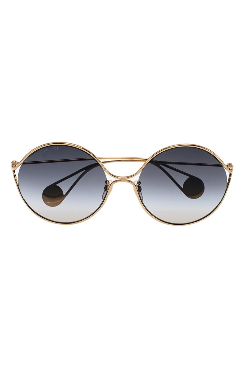 Gucci Круглые очки с градиентными линзами vogue vogel очки черного кадра серебряного покрытия линза мода полной оправе очки vo5067sd w44s6g 56мм