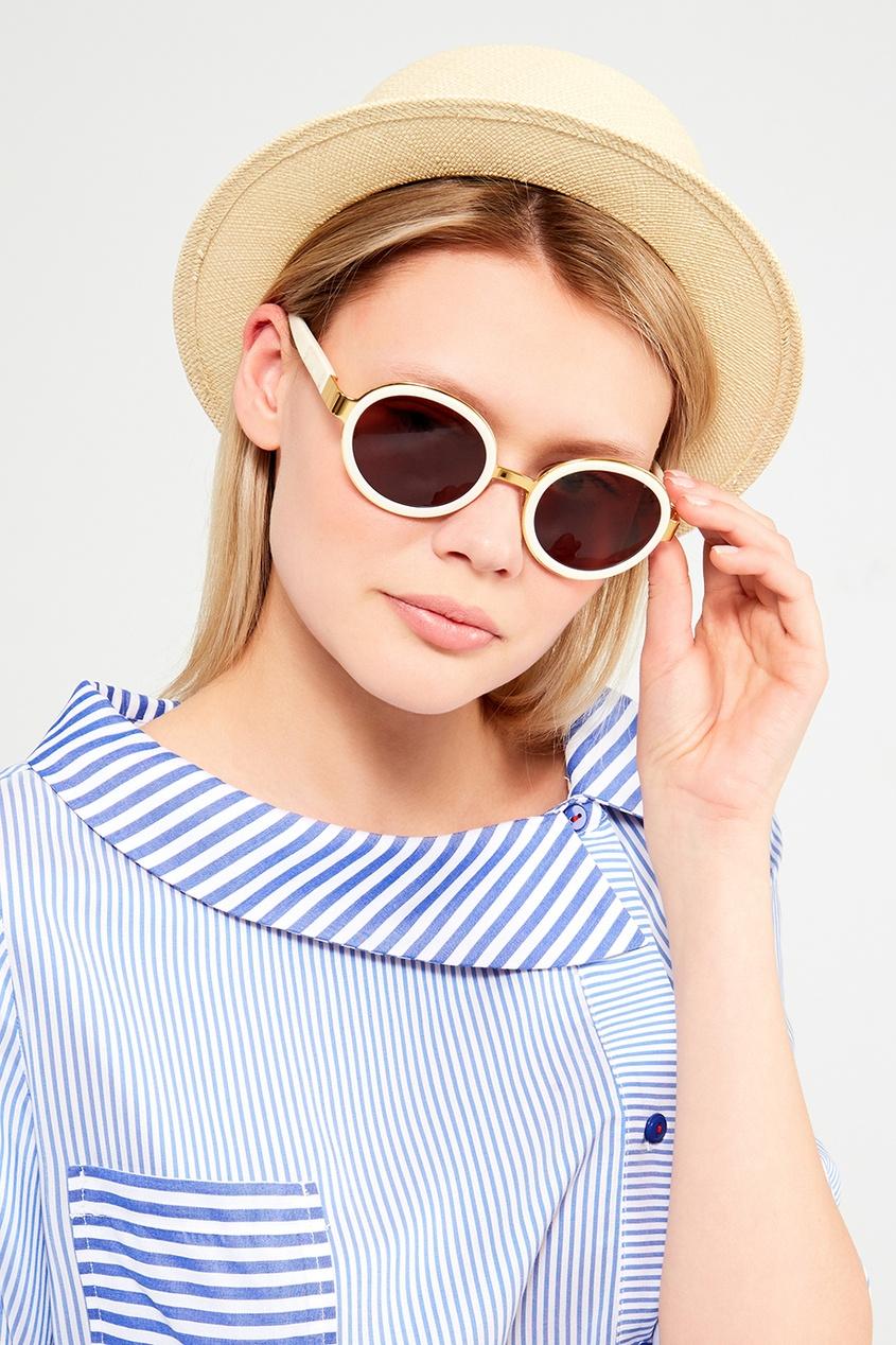 Белые круглые очки
