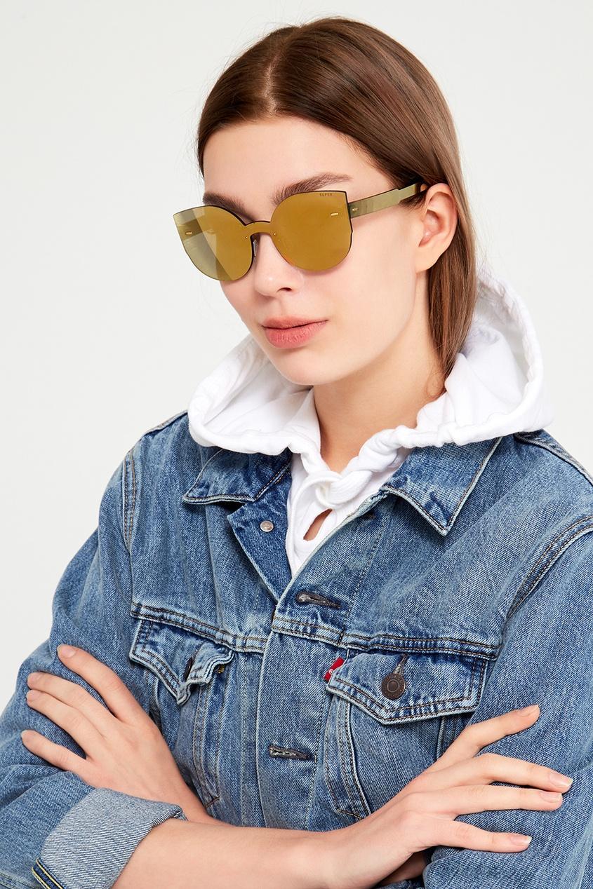 Золотистые очки с моно-линзой