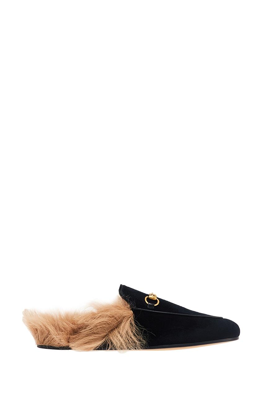 Gucci Черные бархатные слиперы с мехом Princetown