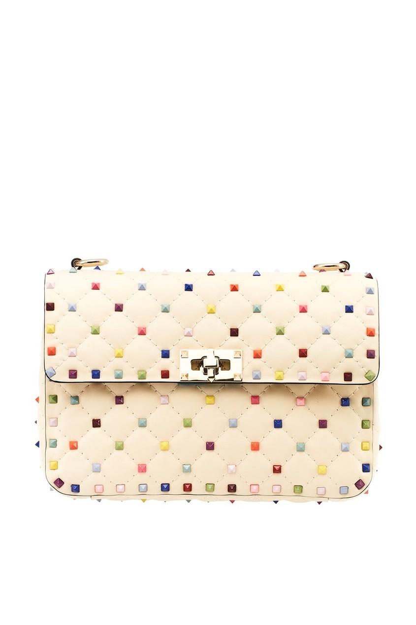Valentino Кремовая сумка с разноцветными заклепками Rockstud Spike сумка giovanni valentino mtp00131699 valentino c rockee