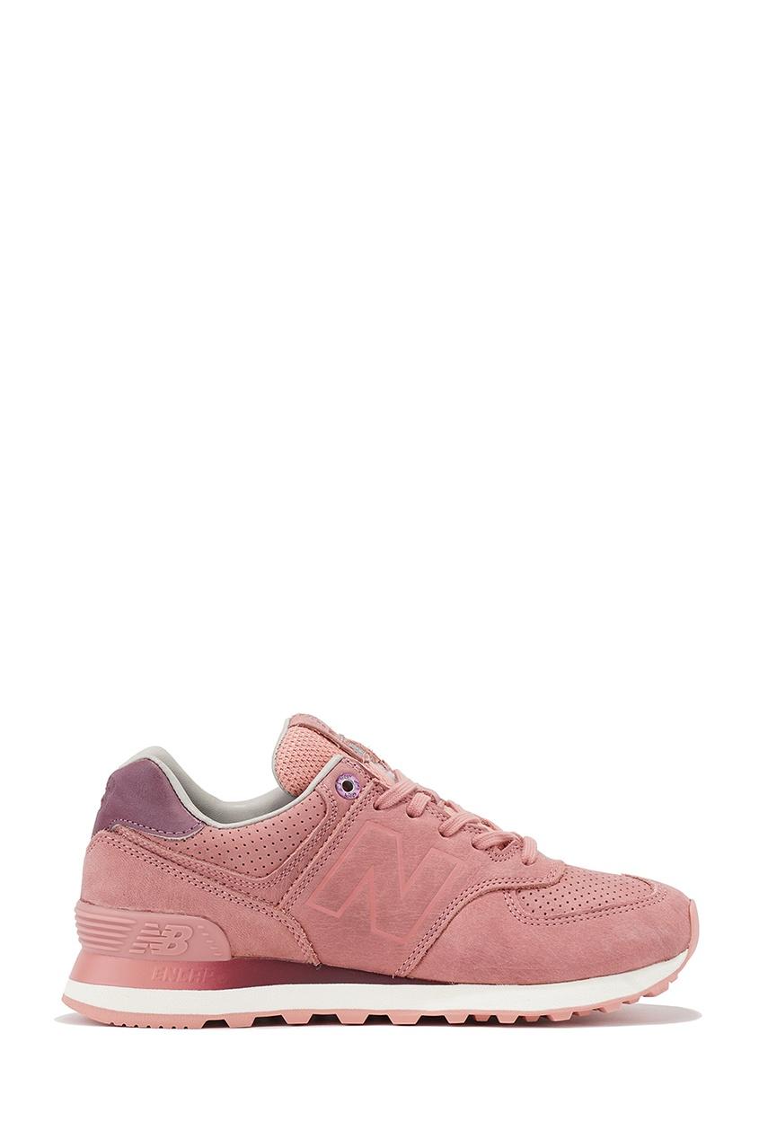 New Balance Розовые кожаные кроссовки 574 купить new balance u420ukg в сургуте
