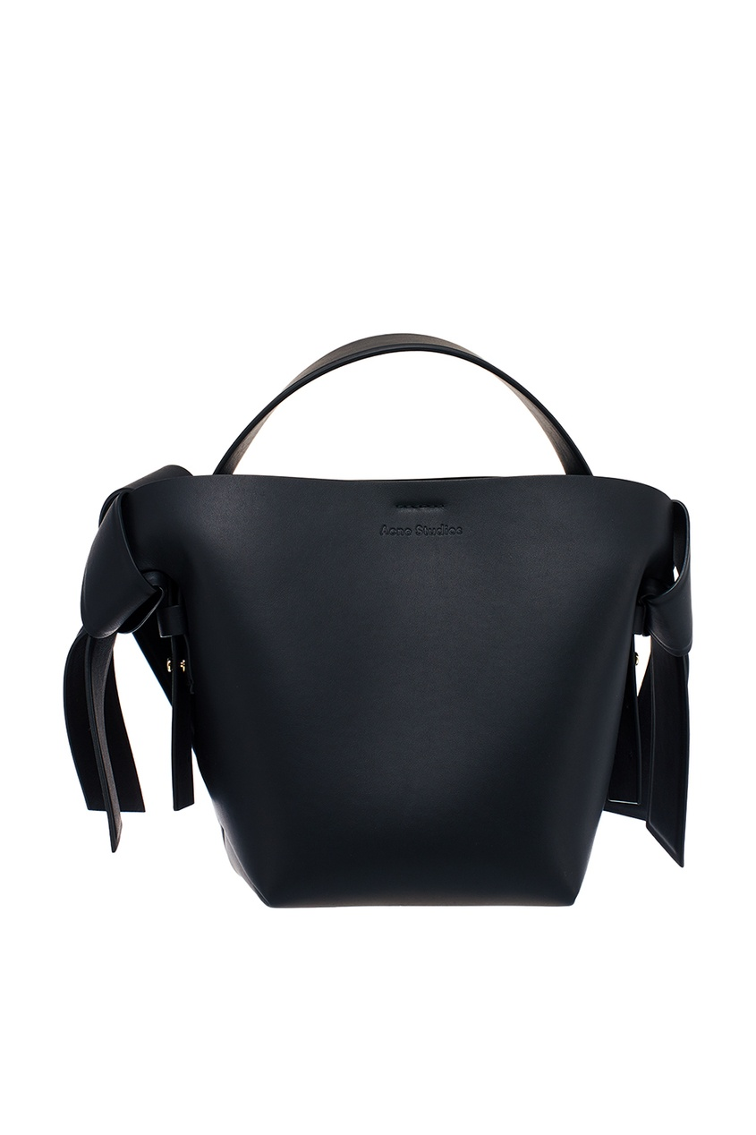 Acne Studios Черная кожаная сумка-тоут Musubi Mini fit 78367