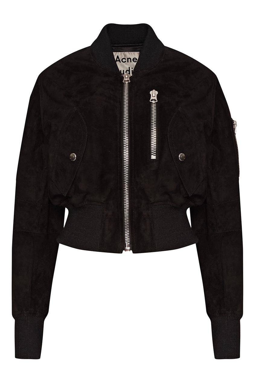 Купить со скидкой Черная замшевая куртка-бомбер Saski Light