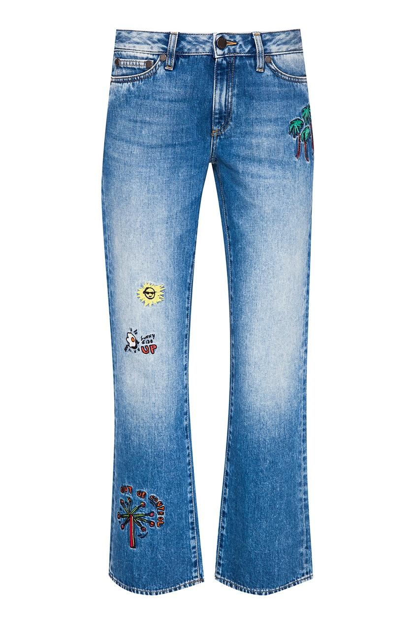 Mira Mikati Голубые джинсы с вышивками mira mikati повседневные брюки