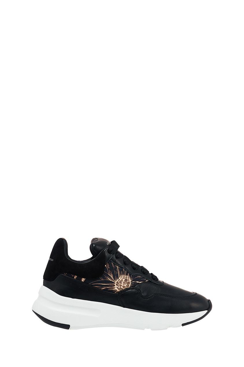 где купить Alexander McQueen Черные кроссовки с принтом по лучшей цене