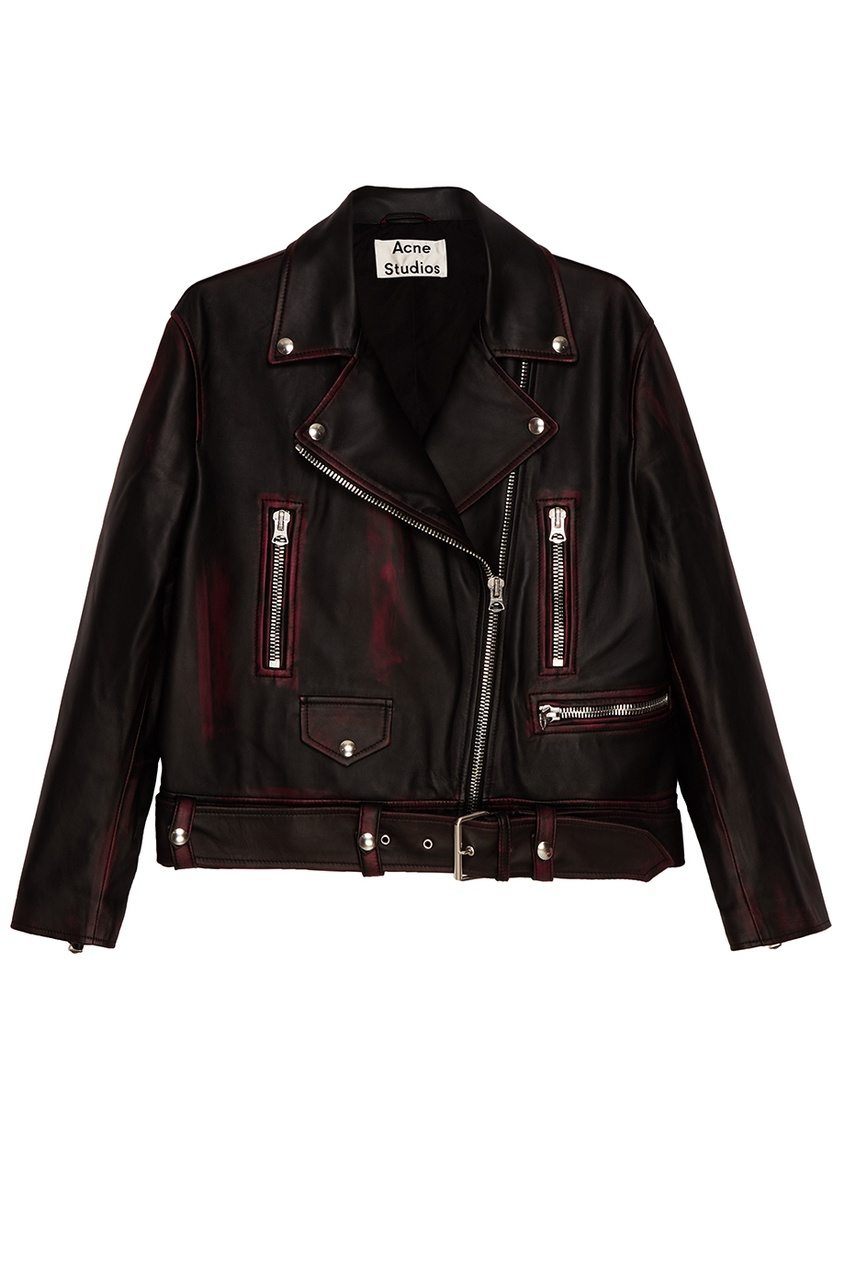 Acne Studios Кожаная куртка с красными потертостями Merlyn acne studios кожаная куртка myrtle