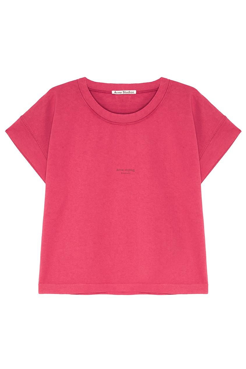 Acne Studios Розовая хлопковая футболка Tohnek acne studios зеленая хлопковая футболка nash