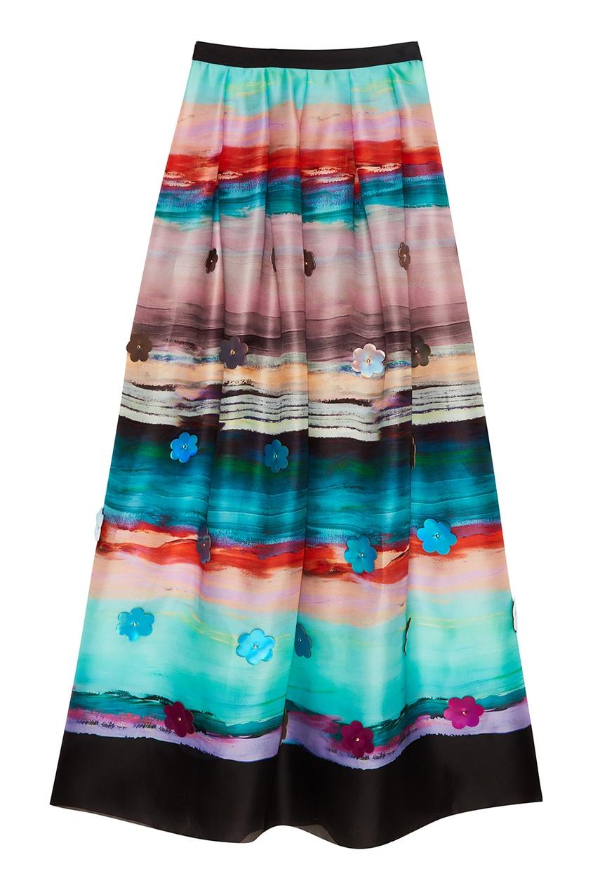 Шелковая юбка с принтом
