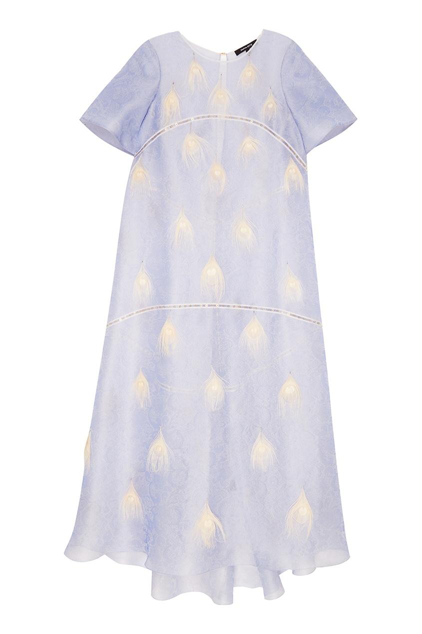 Esve Шелковой платье Лиловое кружево с отделкой перьями esve платье с пайетками