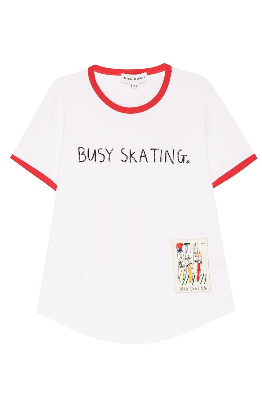 Mira Mikati Хлопковая футболка с ярким декором футболка белая с ярким принтом catimini ут 00011630