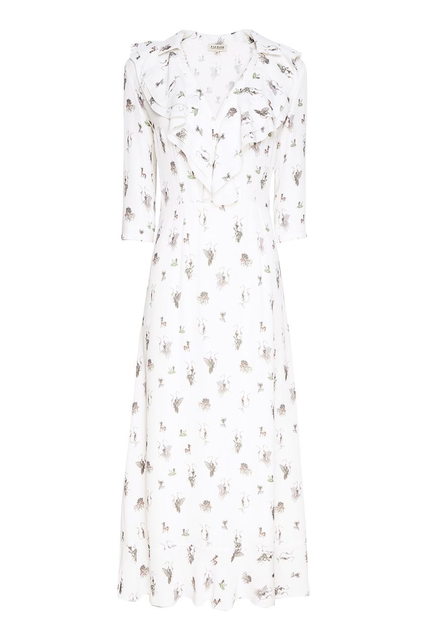 A LA RUSSE Белое платье с принтом