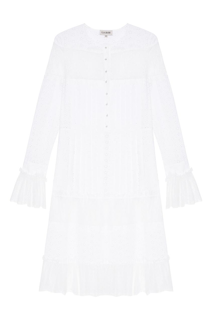Белое комбинированное платье