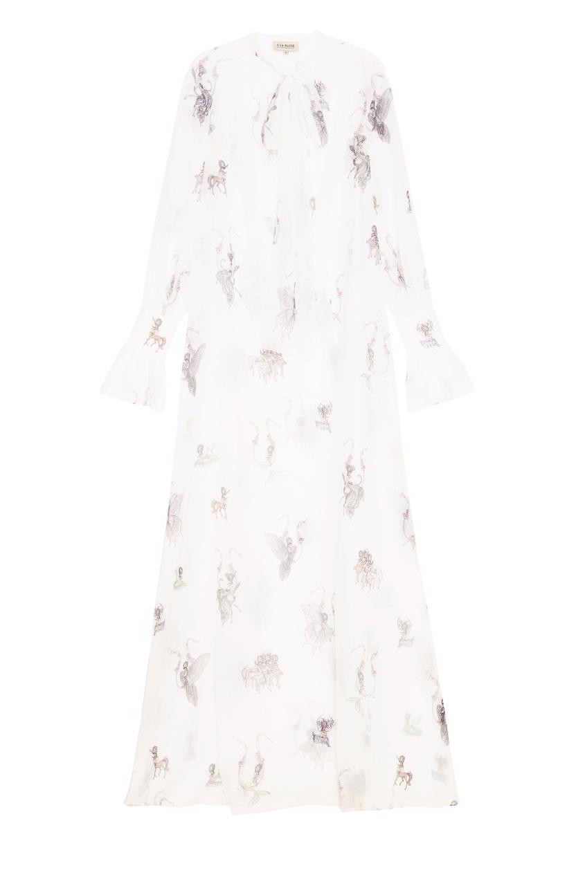 Платье из белого шифона с принтом