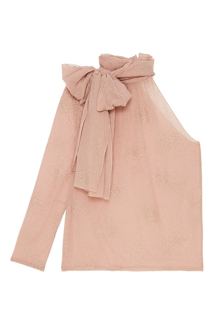 A LA RUSSE Шифоновая блузка с блестками футболка однотонная с открытым плечом