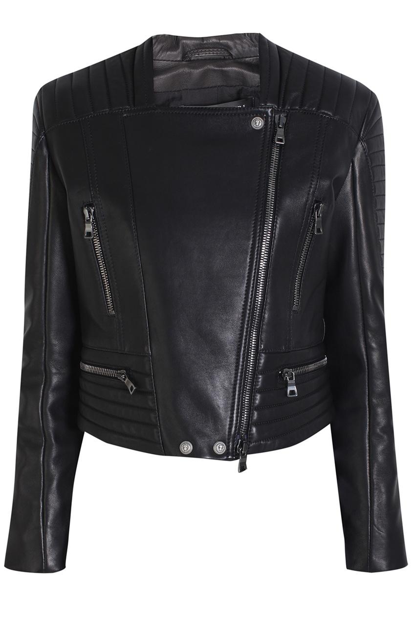 Кожаная куртка Balmain. Цвет: черный