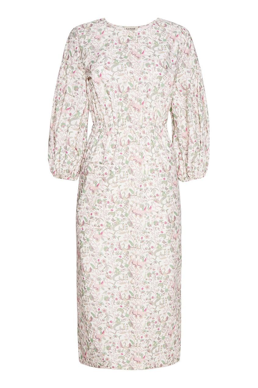 A LA RUSSE Хлопковое платье-миди с принтом
