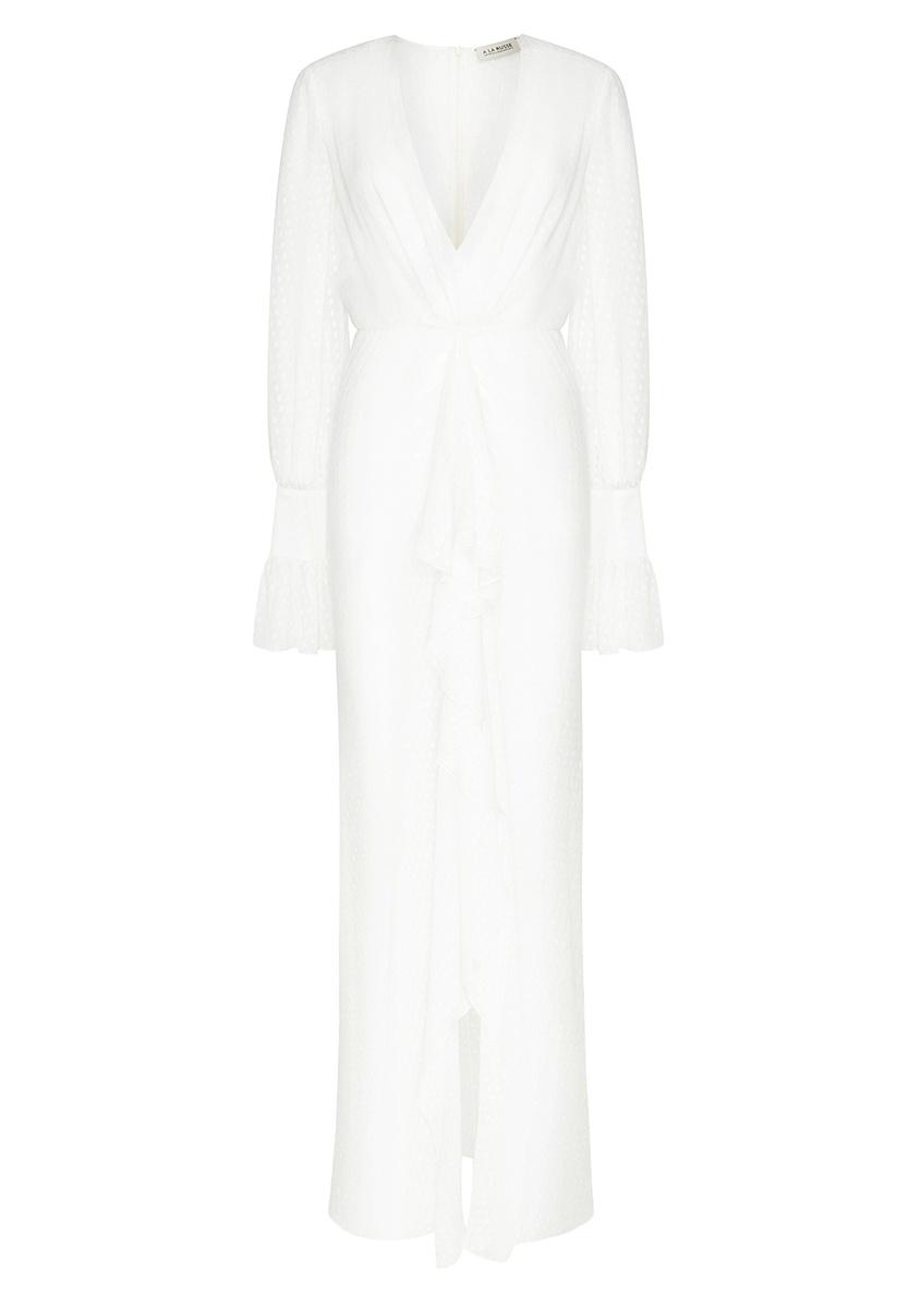 Платье-макси из белого вышитого шелка