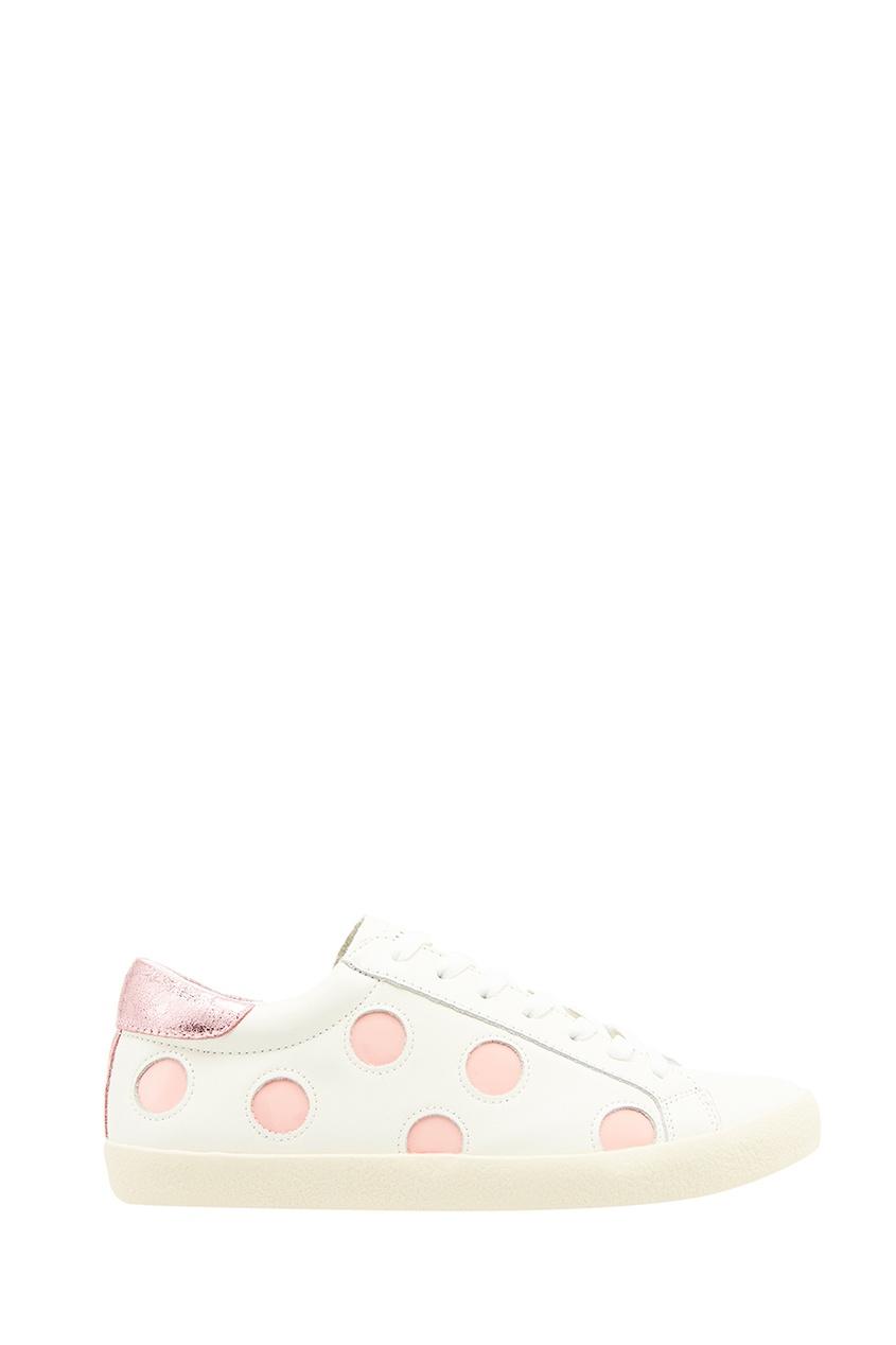 Купить со скидкой Белые кеды с розовой отделкой