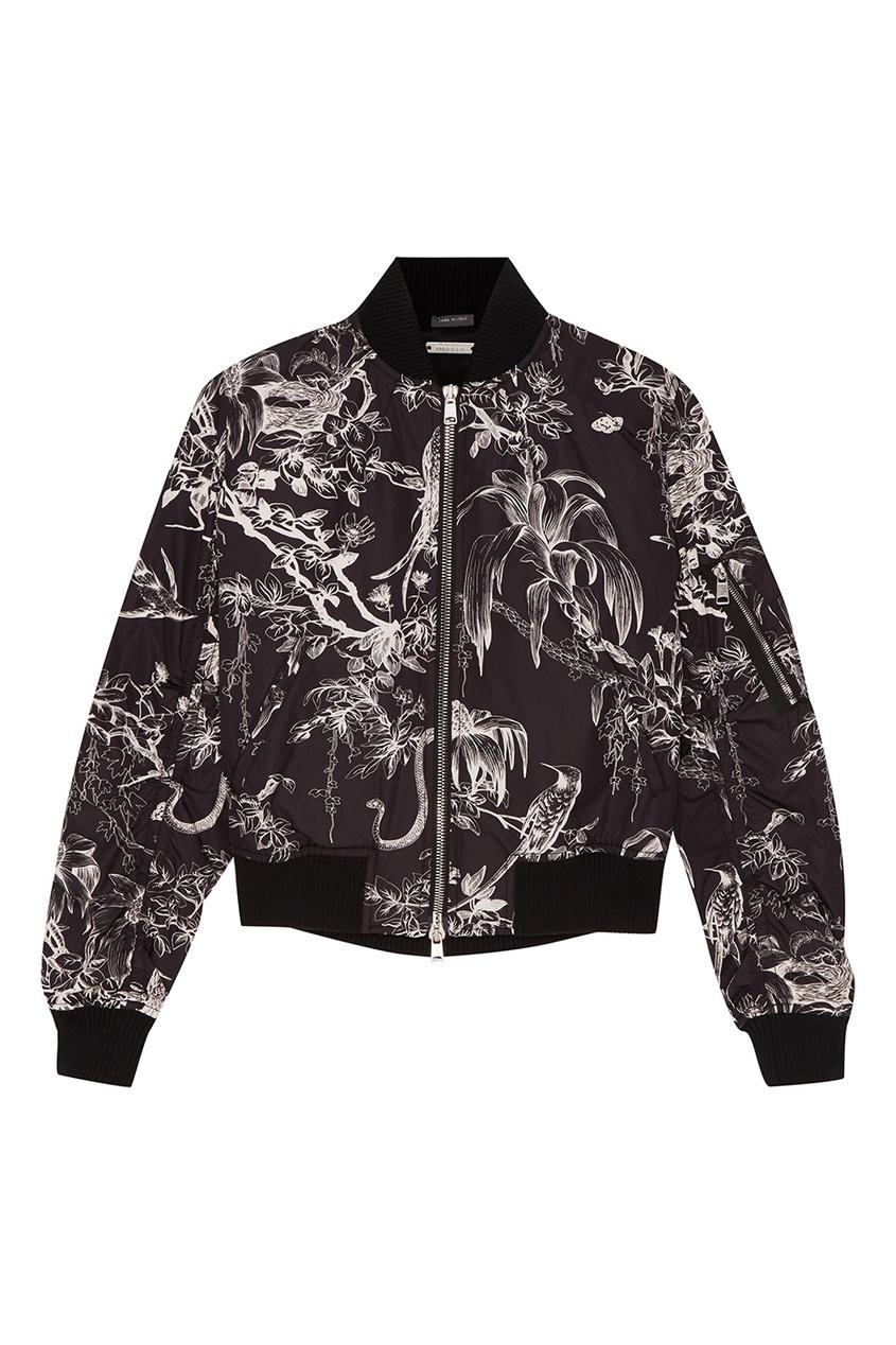 Купить со скидкой Черная куртка-бомбер с контрастным принтом