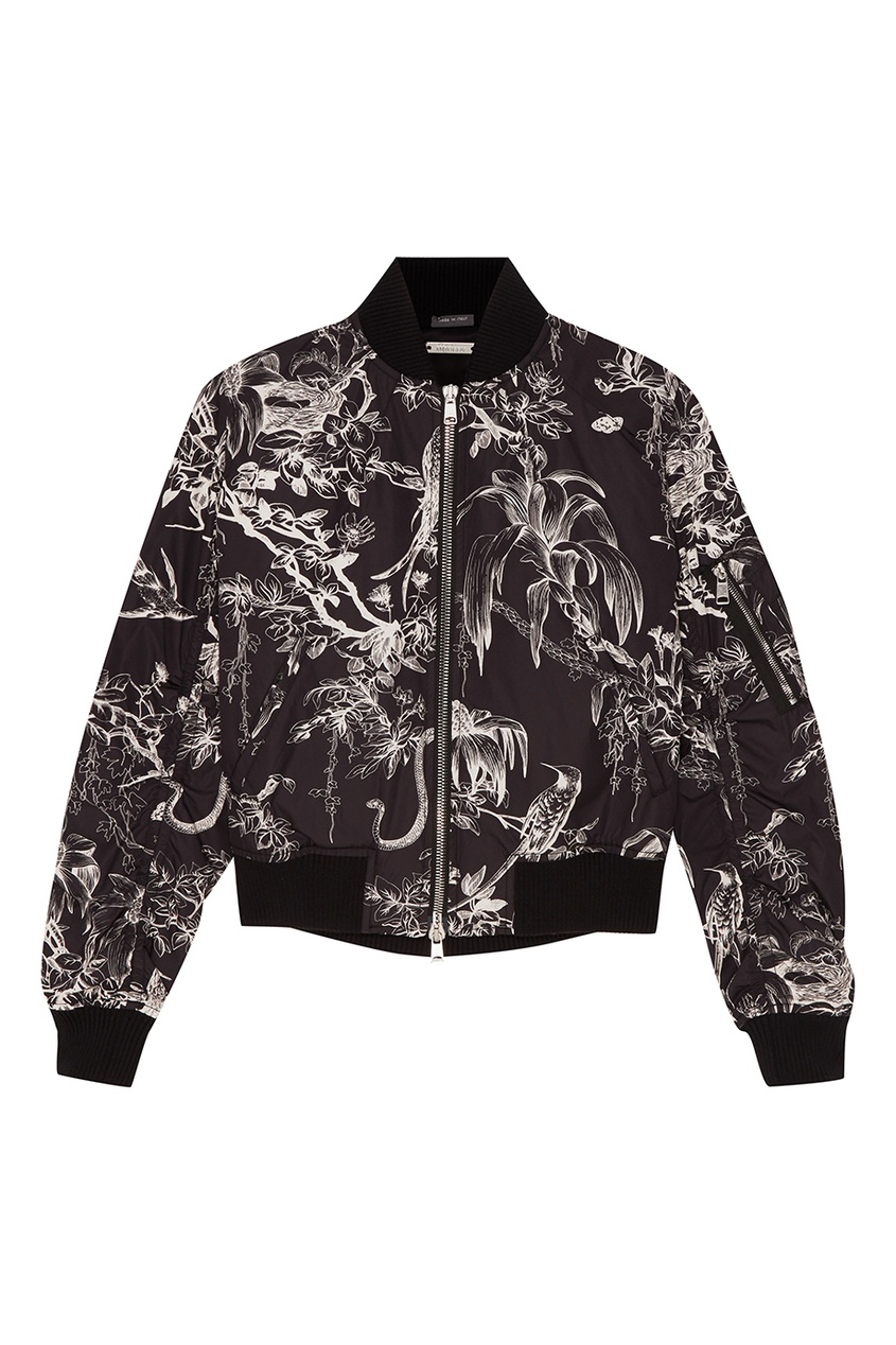 Alexander McQueen Черная куртка-бомбер с контрастным принтом бомбер printio мода 2017