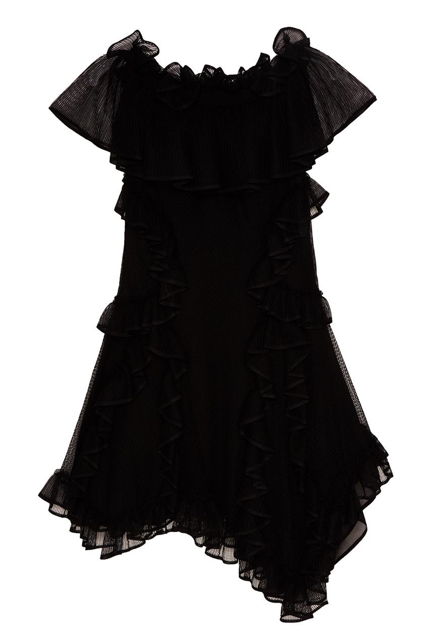 Alexander McQueen Черное шелковое платье с оборками chapurin шелковое платье с оборками