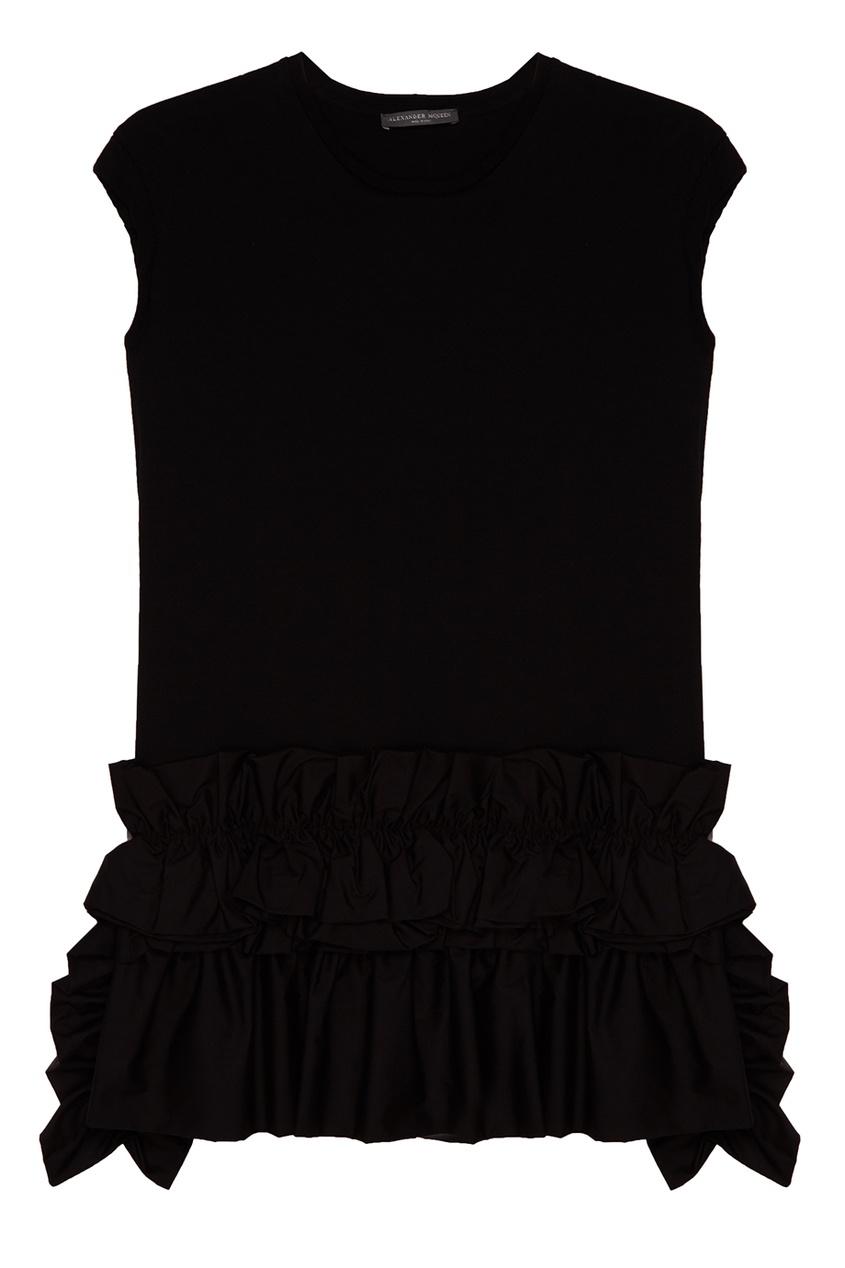 Купить со скидкой Черная блузка с драпировкой