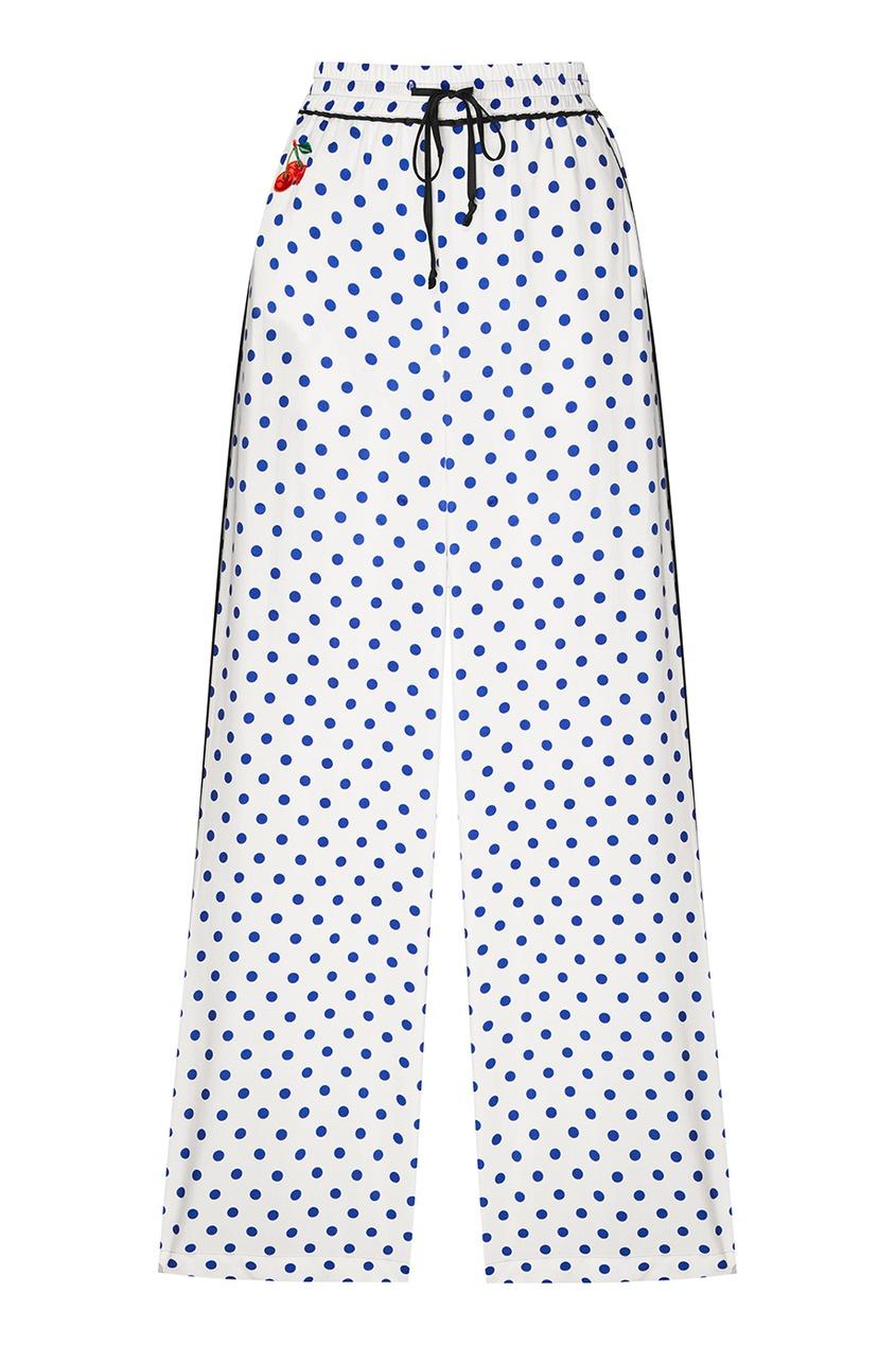 Белые брюки в горошек