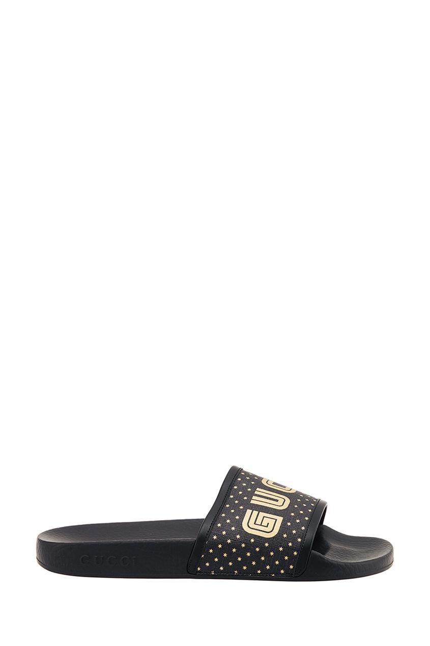 Gucci Черные сандалии с логотипом gucci черные кожаные сандалии horsebit