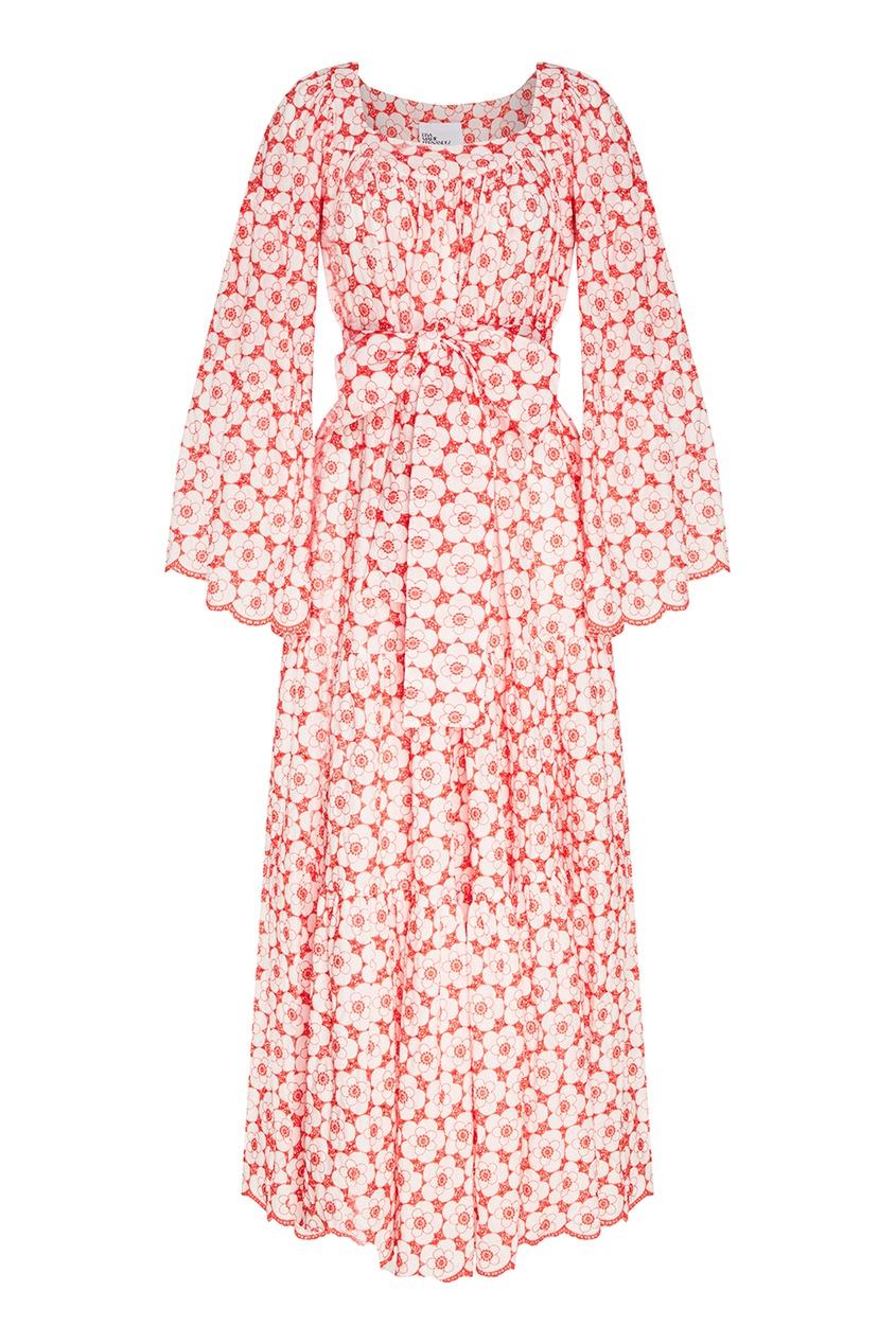 Lisa Marie Fernandez Хлопковое платье с вышитыми цветами lisa marie fernandez короткое платье