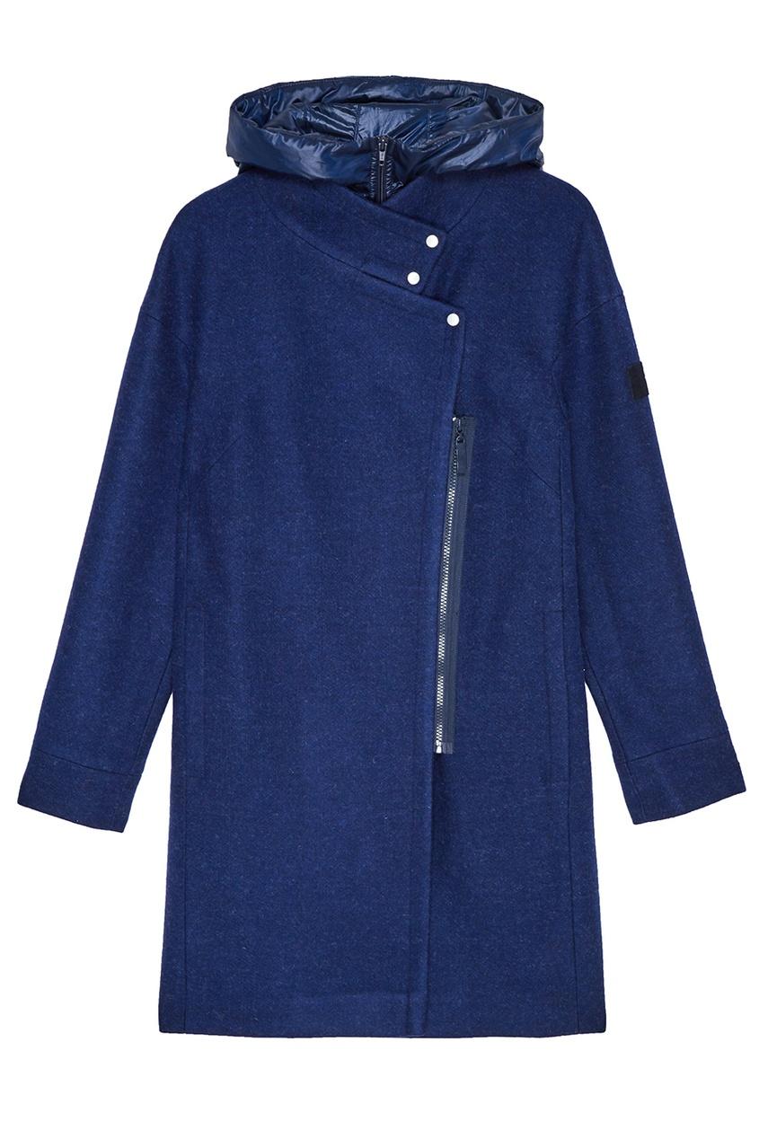 NOVAYA Синее пальто с капюшоном