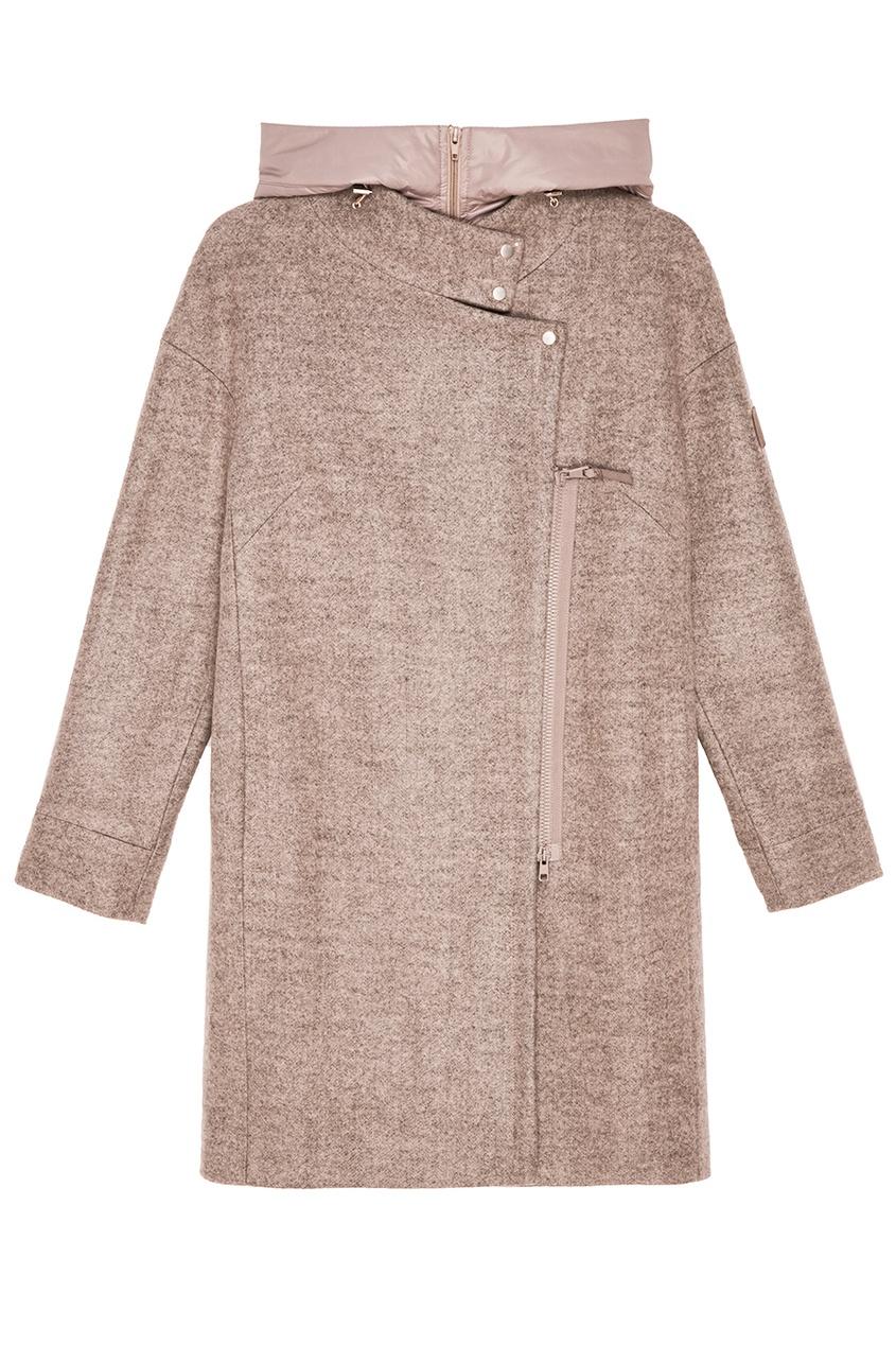NOVAYA Бежевое пальто с капюшоном novaya свитшот со складкой на спине