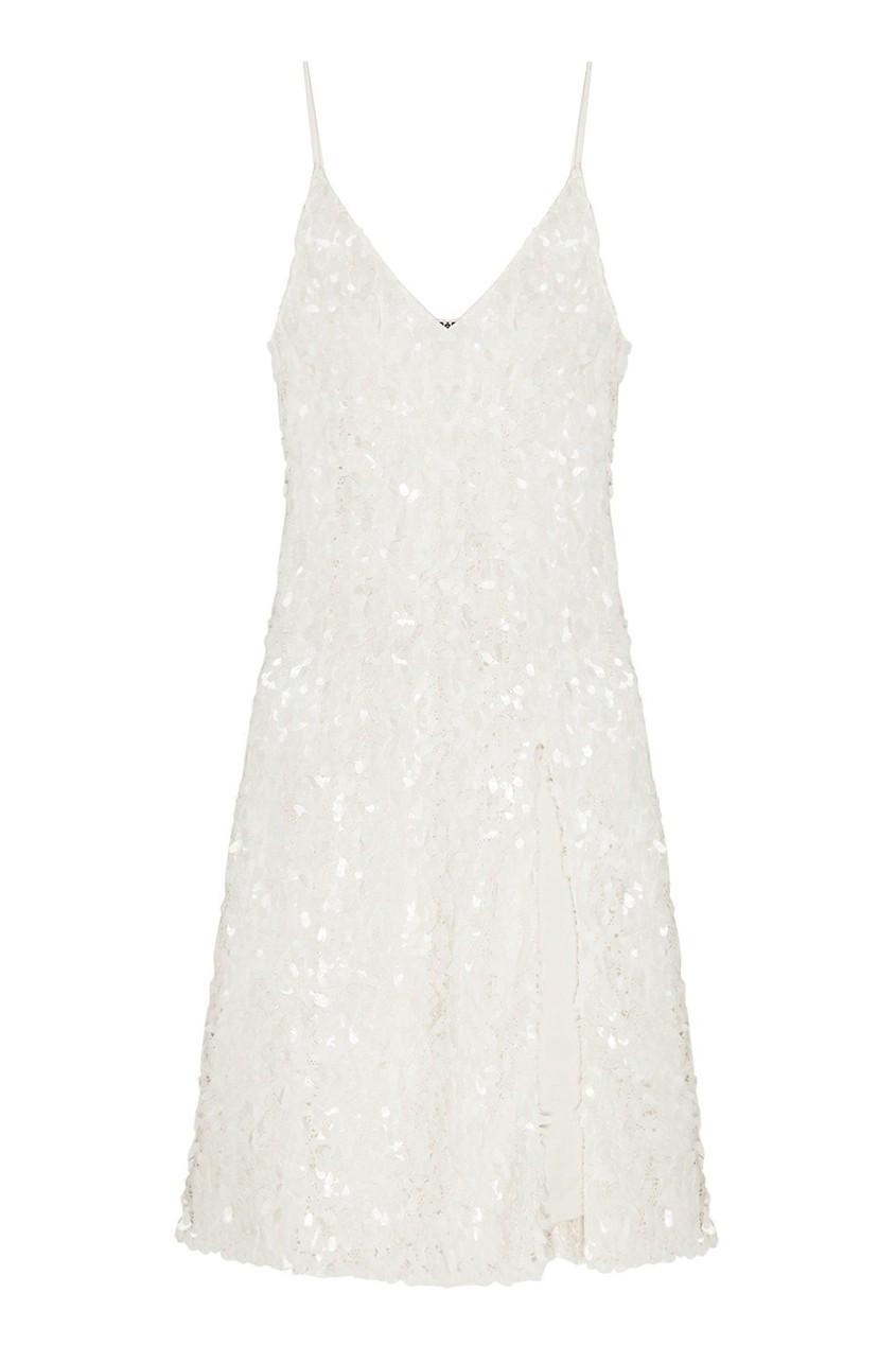 ARTEM KRIVDA Белое платье-миди с пайетками